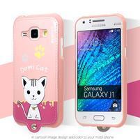 Domi gelové pouzdro s kočičkou na Samsung Galaxy J1 - růžové