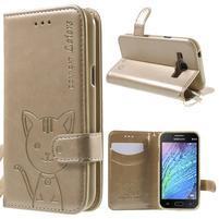 Koženkové pouzdro s kočičkou Domi na Samsung Galaxy J1 - zlaté