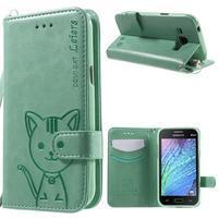 Koženkové pouzdro s kočičkou Domi na Samsung Galaxy J1 - zelené