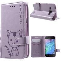 Koženkové pouzdro s kočičkou Domi na Samsung Galaxy J1 - fialové