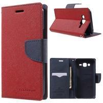 Diary stylové peněženkové pouzdro na Samsung Galaxy J5 - červené