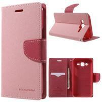 Diary stylové peněženkové pouzdro na Samsung Galaxy J5 - růžové