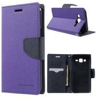 Diary stylové peněženkové pouzdro na Samsung Galaxy J5 - fialové