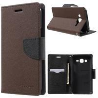 Diary stylové peněženkové pouzdro na Samsung Galaxy J5 - hnědé