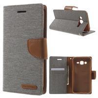 Luxury textilní/pu kožené pouzdro na Samsung Galaxy J5 - šedé