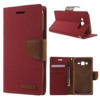 Luxury textilní/pu kožené pouzdro na Samsung Galaxy J5 - červené