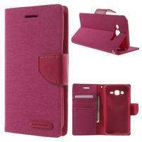 Luxury textilní/PU kožené pouzdro na Samsung Galaxy J5 - rose