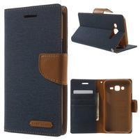 Luxury textilní/pu kožené pouzdro na Samsung Galaxy J5 - tmavěmodré