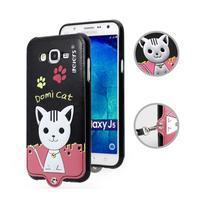Gelový obal s kočičkou Domi s koženkovými zády na Samsung Galaxy J5 - černý