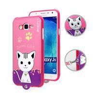 Gelový obal s kočičkou Domi s koženkovými zády na Samsung Galaxy J5 - rose