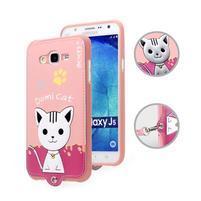 Gelový obal s kočičkou Domi s koženkovými zády na Samsung Galaxy J5 - růžové