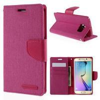 Luxury textilní/koženkové pouzdro pro Samsung Galaxy S6 Edge - rose