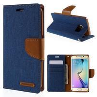 Luxury textilní/koženkové pouzdro pro Samsung Galaxy S6 Edge - modré