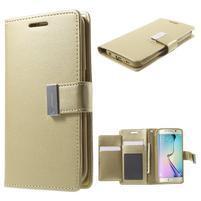 Wallet PU kožené puzdro pre Samsung Galaxy S6 Edge G925 - champagne