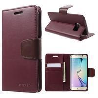 Wallet PU kožené puzdro pre Samsung Galaxy S6 Edge G925 -  vínové