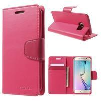 Wallet PU kožené puzdro pre Samsung Galaxy S6 Edge G925 -  rose