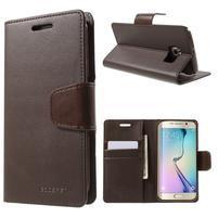 Wallet PU kožené puzdro pre Samsung Galaxy S6 Edge G925 -  tmavohnedé