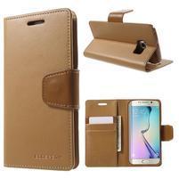 Wallet PU kožené puzdro pre Samsung Galaxy S6 Edge G925 -  hnedé