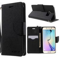 Diary PU kožené pouzdro na Samsung Galaxy S6 Edge - černé