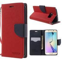 Diary PU kožené pouzdro na Samsung Galaxy S6 Edge - červené