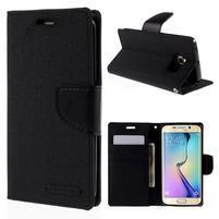 Luxury textilní/koženkové pouzdro pro Samsung Galaxy S6 Edge - černé