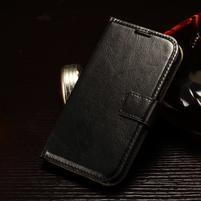 Koženkové peněženkové pouzdro na Samsung Galaxy Xcover 3 - černé