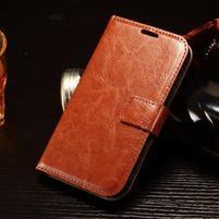 Koženkové peněženkové pouzdro na Samsung Galaxy Xcover 3 - hnědé