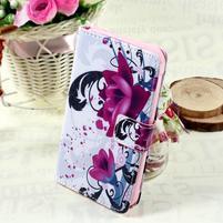Stylové peněženkové pouzdro pro Samsung Galaxy Xcover 3 - fialové květy