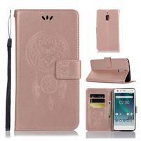 Dream PU kožené flipové pouzdro pro Nokia 2.1 - růžovozlaté