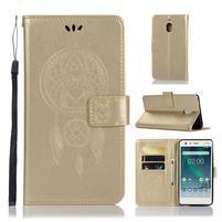 Dream PU kožené flipové pouzdro pro Nokia 2.1 - zlaté