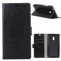 Crazy PU kožené peněženkové pouzdro na mobil Nokia 2.1 - černé