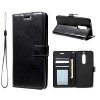 Standy PU kožené knížkové pouzdro na Nokia 5 - černé