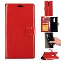 Wallet PU kožené knížkové pouzdro na Nokia 5 - červené