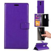 Wallet PU kožené knížkové pouzdro na Nokia 5 - fialové