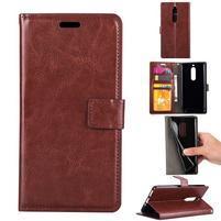 Wallet PU kožené knížkové pouzdro na Nokia 5 - hnědé