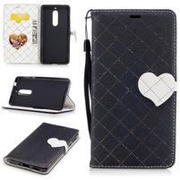 Hearts PU kožené pouzdro na Nokia 5 - černé