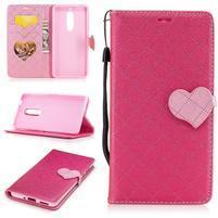 Hearts PU kožené pouzdro na Nokia 5 - rose
