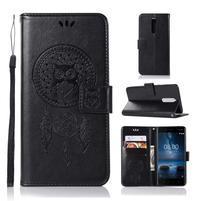 Owl PU kožené peněženkové pouzdro na mobil Nokia 5.1 - černé