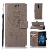 Owl PU kožené peněženkové pouzdro na mobil Nokia 5.1 - šedé