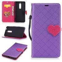 Hearts PU kožené pouzdro na Nokia 5 - fialové