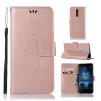 Owl PU kožené peněženkové pouzdro na mobil Nokia 5.1 - rosegold