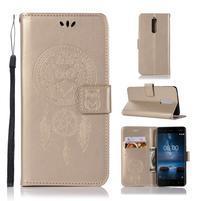 Owl PU kožené peněženkové pouzdro na mobil Nokia 5.1 - zlaté