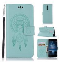 Owl PU kožené peněženkové pouzdro na mobil Nokia 5.1 - cyan