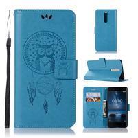 Owl PU kožené peněženkové pouzdro na mobil Nokia 5.1 - modré