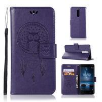 Owl PU kožené peněženkové pouzdro na mobil Nokia 5.1 - fialové