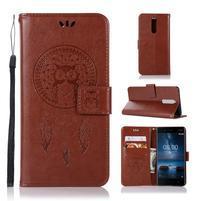 Owl PU kožené peněženkové pouzdro na mobil Nokia 5.1 - hnědé