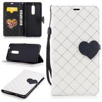 Hearts PU kožené pouzdro na Nokia 5 - bílé