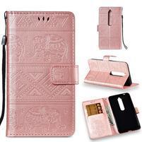 Print PU kožené pouzdro na mobil Nokia 6.1 - rosegold