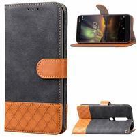 Jeansy PU kožené/textilní pouzdro na mobil Nokia 6.1 - černé