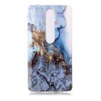 Marble silikonový kryt na mobil Nokia 6.1 - zlatomodrý